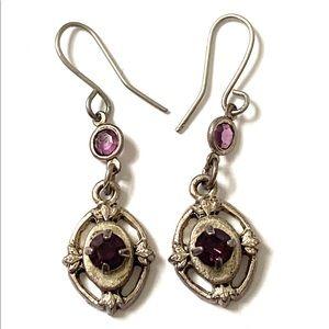 Vintage purple silver dangle earrings